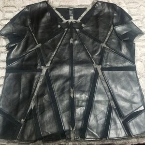 FOREVER 21 Black Faux Leather & Tulle Cut-out Top
